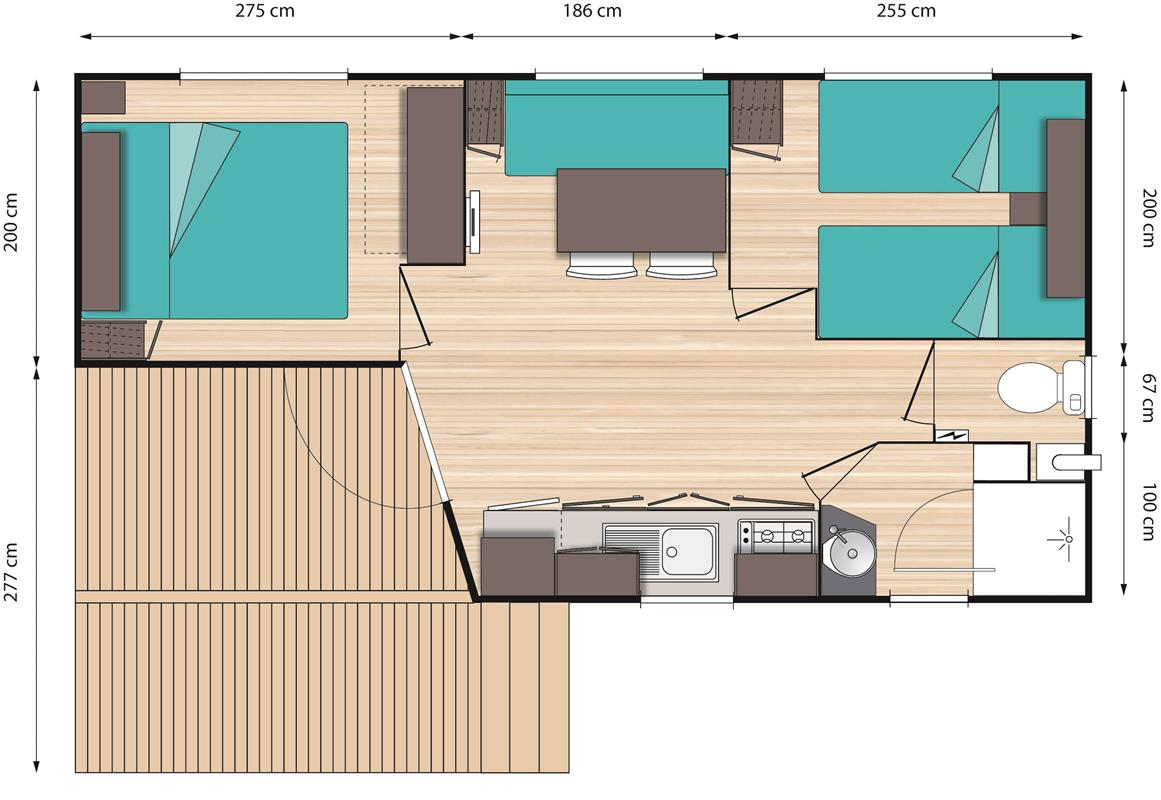 Mobil home o 39 hara 2 chambres de 2010 bois de cen for Camping le bois joli la chambre